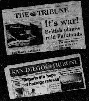 1981-1991: The 1980s brought a spiffy new logo for the paper, which dropped the Sun and Journal credits and shortened its name to The Tribune. In 1989 it became the San Diego Tribune.
