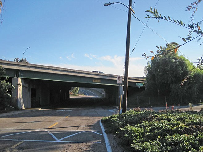 """Panorama Drive Bridge, in the vicinity of the planned connector road. Could Caltrans install some lighting on the underpass? """"It's pitch dark there at night, and so it brings trouble,"""" a resident said. """"It brings garbage, illegally dumped garbage and graffiti."""""""