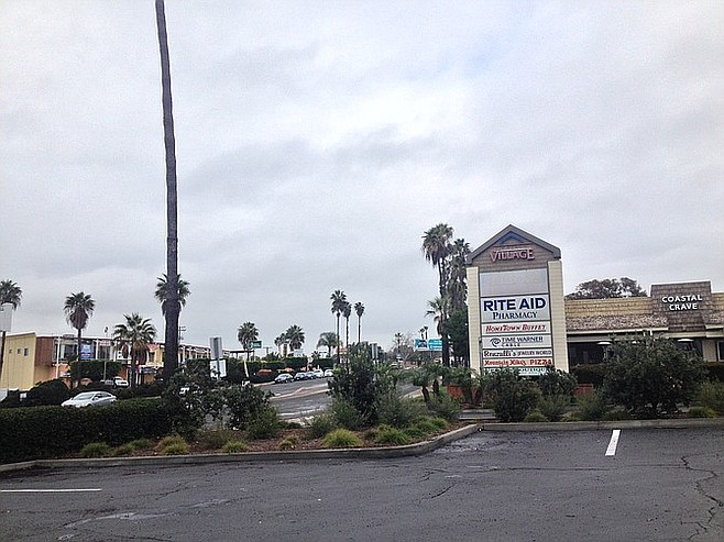 Entrance to shopping center off Clairemont Drive