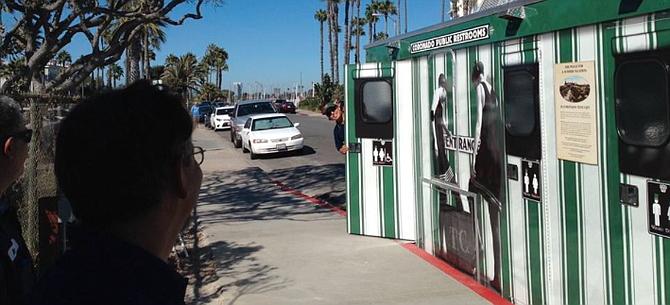 The city placed trailer-mounted portable bathrooms  on Avenida del Sol in 2013.