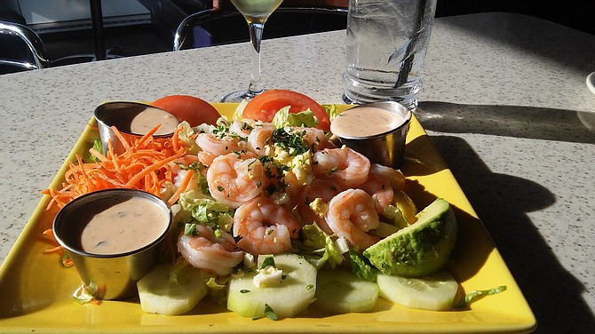 Objects in this shrimp salad are smaller than they appear