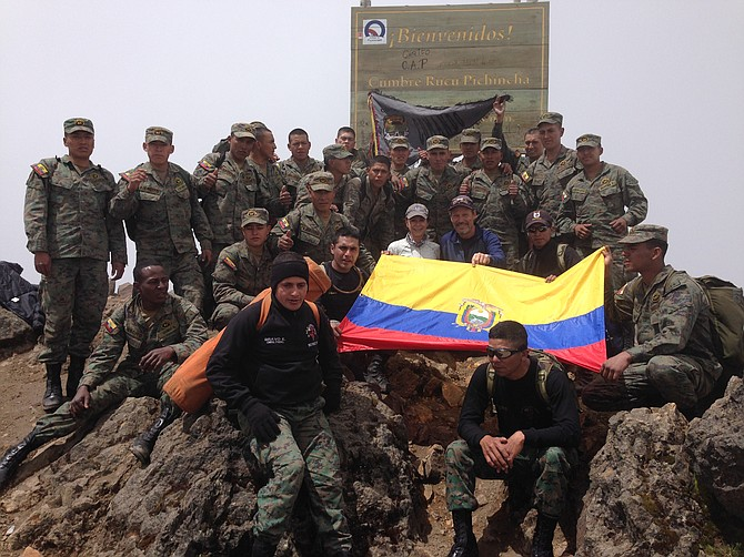 Posing with Ecuadorian Special Forces on the summit of Rucu Pichincha