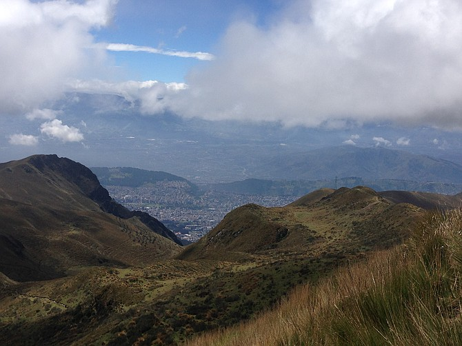 City of Quito, Ecuador sprawling out below us.