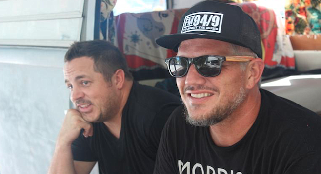 """FM-94/9 jettisoned Chris Cantore (right) early Monday, but there was no mention of Woods (left) leaving. Late Monday Woods indicated on social media that he was a """"former"""" employee of FM-94/9."""