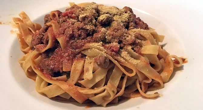 A vegan impersonation of fettuccine bolognese
