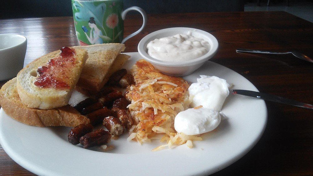 Basic egg breakfast with sausage and gravy is a hit at Jennie's.