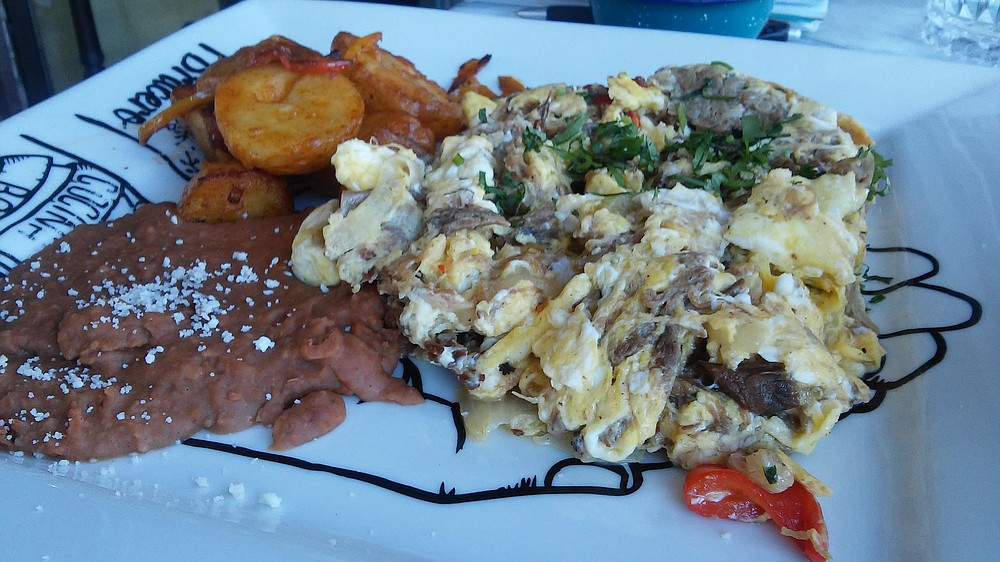 Bracero's machaca con huevos — tender and spicy.