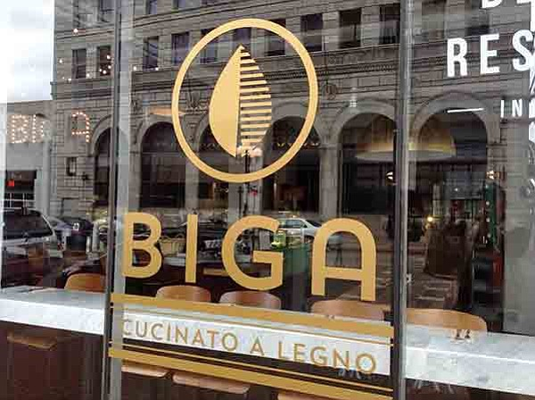 "Window sign. Biga means ""starter dough."" Here it's 200 years old."