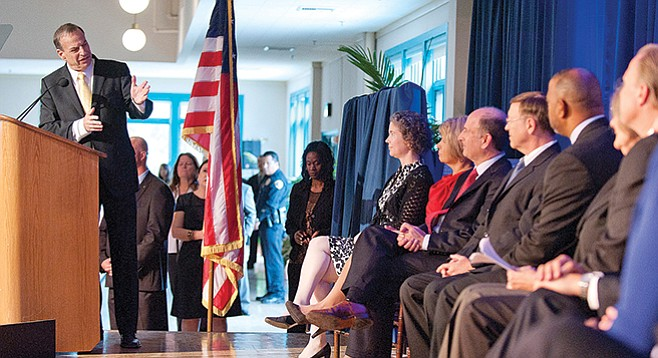Bob Filner's inauguration 2012. Goldsmith was not a fan, and that is an understatement. - Image by Alan Decker