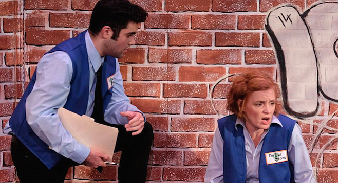 Kenny Bordieri (Stevie) and Heidi Bridges (Margie) in Good People, now playing at Scripps Ranch Theatre.