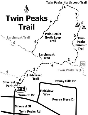 Twin Peaks' summit trail is located at the high point along the ridge.