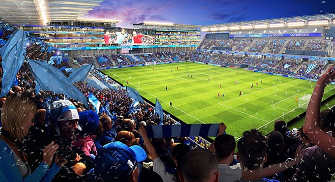 """Phoney-baloney news on proposed soccer stadium: """"San Diego State University would pay half the cost; private investors would pay the rest."""""""