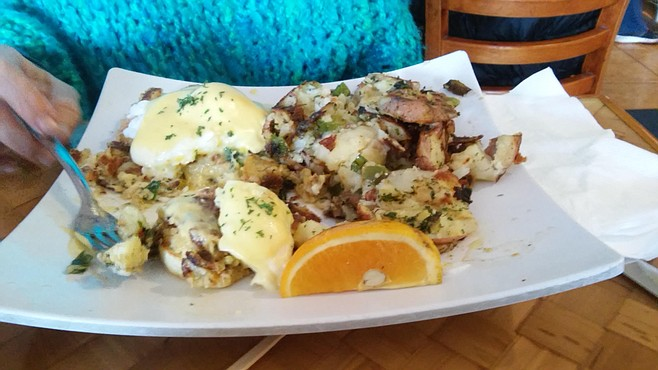The banana pancakes are a hit with the crowd, but we went with the eggs Benedict at Honey's Bistro & Bakery.