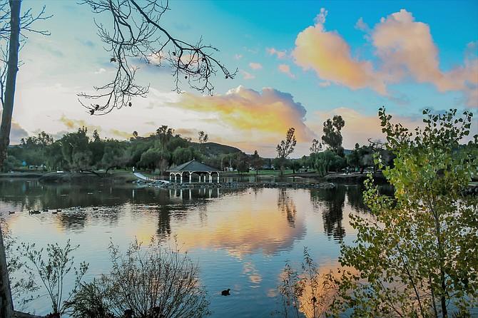 Sunrise over Lindo Lake in Lakeside