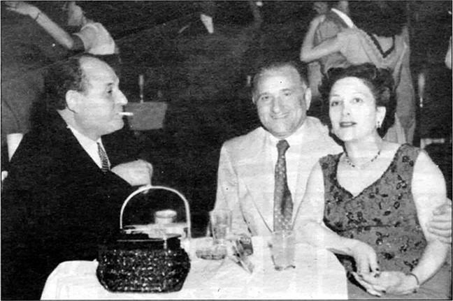 "Frank Bompensiero, A.J. Kahn, Thelma Bompensiero, c. early 1950s.  Bompensiero went to prison in May 1955, convicted of bribery in the William ""Big Bill"" Bonelli liquor license scandal."