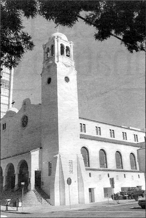 St. Joseph's Cathedral. Frank Borgia, in June 1952, was invited to a wedding and drove to St. Joseph's Cathedral. In one of the photographs, Borgia can be seen, smiling, the last photograph of Frank Borgia.  Jack Dragna had ordered him hit.