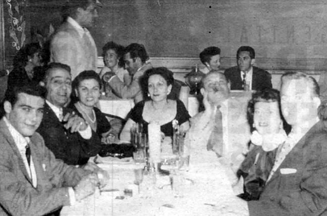 """At Tops in 1948: second from left, Momo Adamo, Marie Adamo, Thelma Bompensiero, Frank Bompensiero, Mary Ann. Mary Ann said, """"Marie flirted so much with my father.  My mother [Thelma] would say to my father, 'If anything ever happens to me, Marie is going to come after you.' """""""