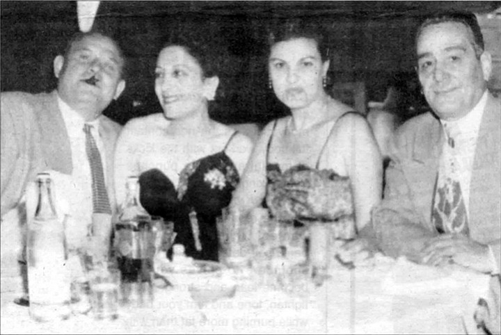 """Frank and Thelma Bompensiero and Marie and Momo Adamo in early 1950s. Marie flirted with everyone. Momo in his broken English hissed at her, """"Maria Mag-a-da-lena!"""""""