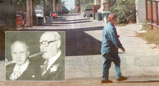 Mickey Cohen, Frank Bompensiero (inset photo); Alley off Lamont St., south of Grand Ave. where Bompensiero was shot and killed.