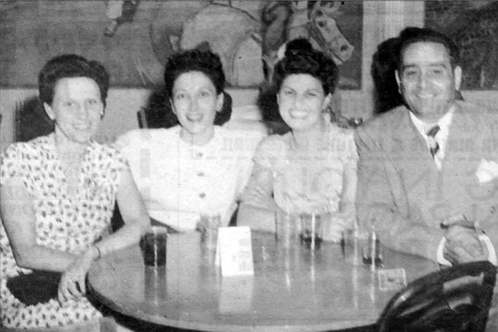 """Thelma Bompensiero (second from left), Marie Adamo, and Momo Adamo. Mary Ann: """"My dad [Frank] said to my mom, 'Thelma, come on honey.  She's just a baby.  Leave her alone.  Get it out of your system. Hit me. Hit me, baby.' """""""