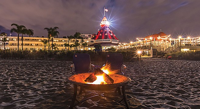 Reserve a private fire pit on the Hotel Del Coronado's beach. $100 an hour, beach chairs and blankets included.
