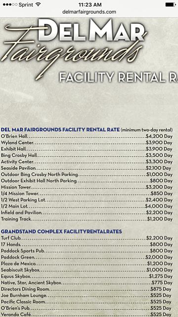 Del Mar Fairgrounds rental fees
