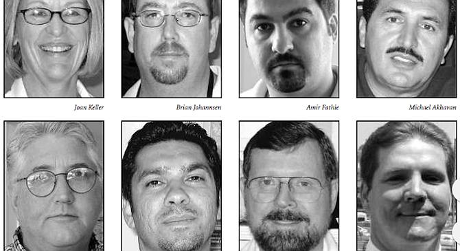 "From top left: Keller, Johannsen, Fathie, Akhavan, Harris, Moshki, Davis, Parkins. ""Our business dropped like a stone."""
