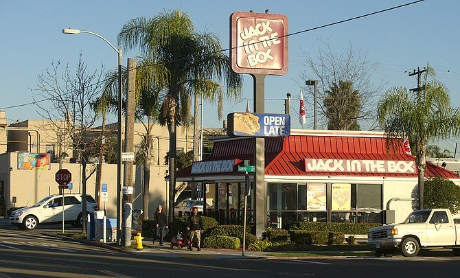 Jack in the Box, at the intersection of 30th and Upas streets, before the rebuild, in 2012. - Image by Alan Decker