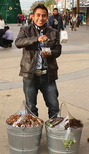 Damian, another chapulines salesman from Veracruz — but he was willing to talk.