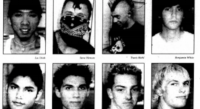 "From top left: Dinh, Henson, Riehl, White, Orti, Schoenemann, Higby, Perringer. ""An attack like the ones in New York and all that is nothing compared to the genocide and torture that America causes in other countries."""