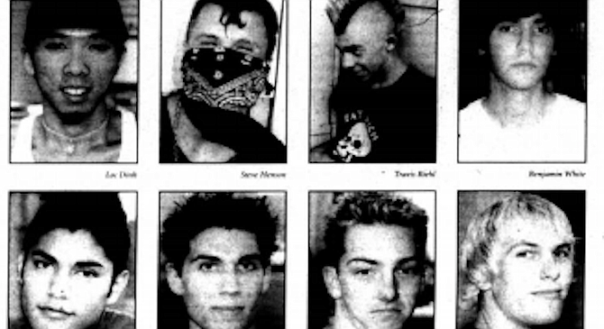 """From top left: Dinh, Henson, Riehl, White, Orti, Schoenemann, Higby, Perringer. """"An attack like the ones in New York and all that is nothing compared to the genocide and torture that America causes in other countries."""""""
