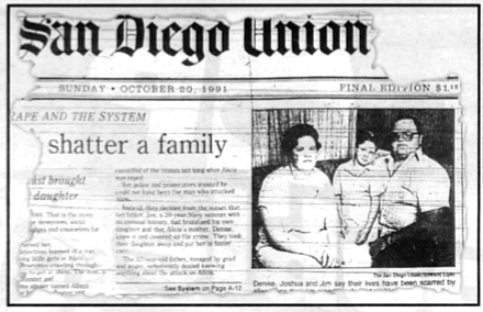S.D. Union, Oct. 30, 1991. Denise, Josh, and Jim Wade. The Wades begged their daughter to tell them, but the doctor refused to let them question or even talk to her.