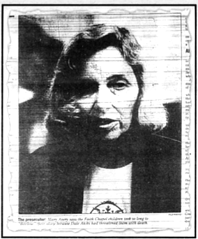 A panic gripped many of the congregation, fueled apparently by Mary Avery and Mary Goodall. Photo of Avery from the San Diego Union.