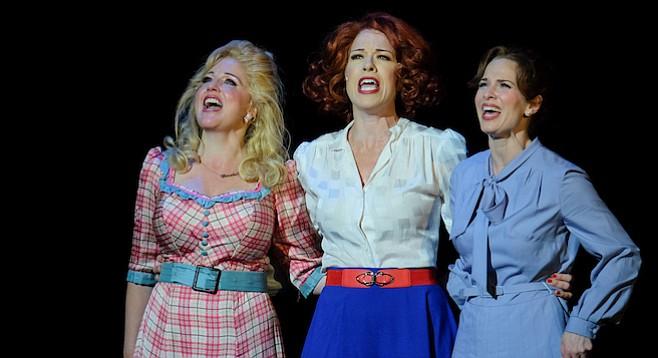 Karyn Overstreet as Doralee, Joy Yandell as Violet, and Allison Spratt Pearce as Judy in 9 to 5: the Musical
