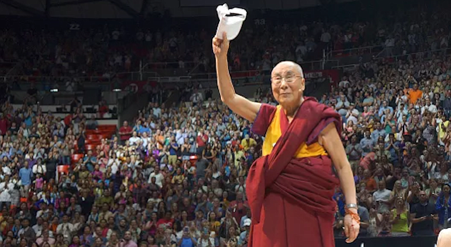 But the Dalai Lama can draw a crowd