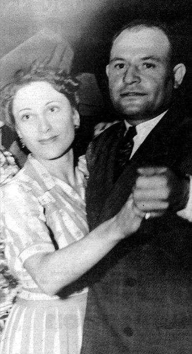 "Thelma and Frank Bompensiero. ""My grandfather Sanfilippo didn't like him because my father was driving a beautiful car, wearing expensive clothes, and my grandfather Sanfilippo probably knew there was lots more than bootlegging going on. They didn't speak very much English, but they knew."""