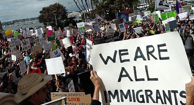 """""""I'm just an immigrant who fell in love with America,"""" said Imam Taha Hassane of the Islamic Center of San Diego."""