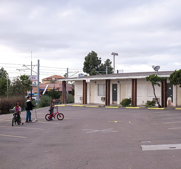 San Ysidro motel. The school surveys include those in motels or trailers, those abandoned by parents and staying with extended family members, and those in housing with more than one family.