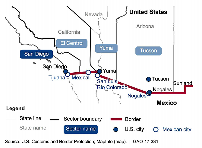 Sector map of border fence