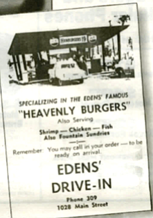 Edens Drive-in flyer.  Daddy designed it. The blue beauty of his blueprints laid out on the dining room table.  Construction was started in the spring of 1955. All summer we made trips back and forth to L.A.. checking out the hamburger stands.