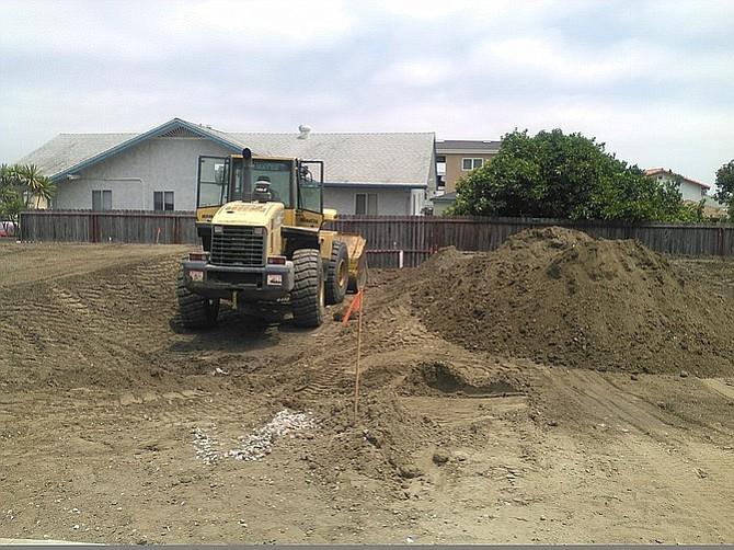 The Garrison/Evergreen developer built up the grade in July 2016 shortly after demolition was complete.