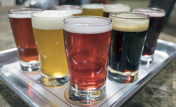 A colorful taster flight at Indian Joe Brewing in Vista heralds a variety of beers on tap for San Diego.