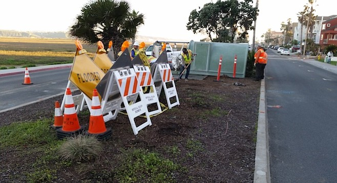 Wastewater crews worked on Imperial Beach Blvd. February 24.