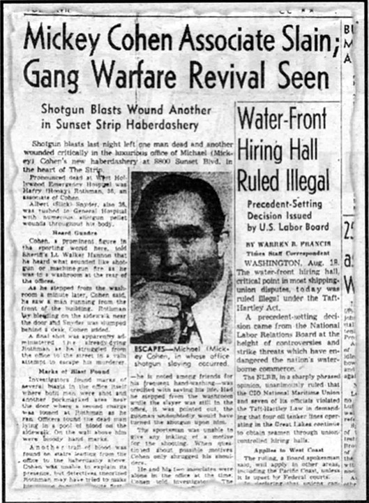 """From the Los Angeles Times, August 19, 1948. """"Bompensiero swung the sawed-off shotgun in front of Hooky's face and ordered, 'Get back in there.'"""""""