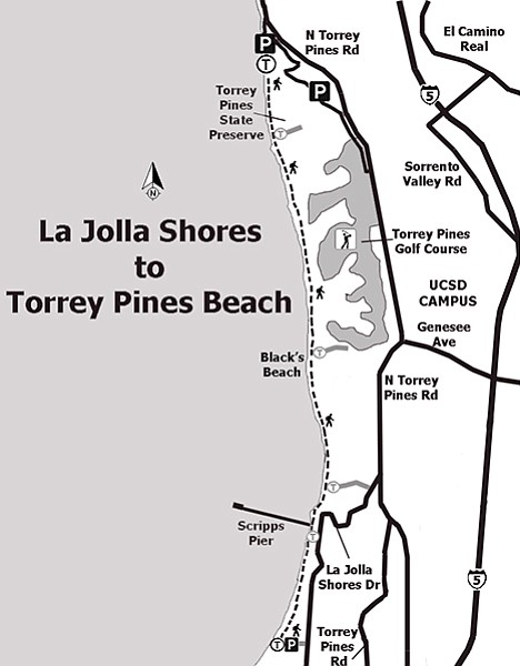 Map: La Jolla Shores to Torrey Pines State Beach