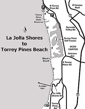 Map: La Jolla Shores to Torrey Pines State Beach