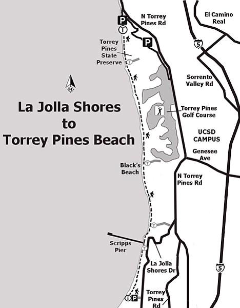Photo Map La Jolla Shores To Torrey Pines State Beach San Diego