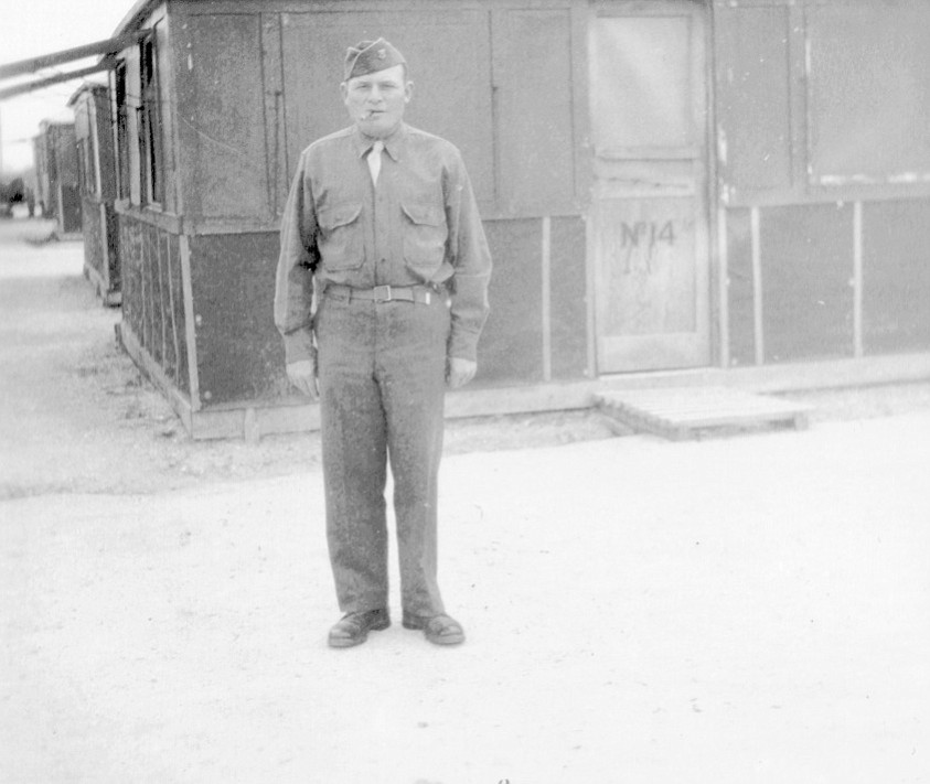 """Frank Bompensiero in the Army. """"He was older than everyone in his platoon. The guys called him 'Pops.' He was stationed in El Paso, Texas."""""""