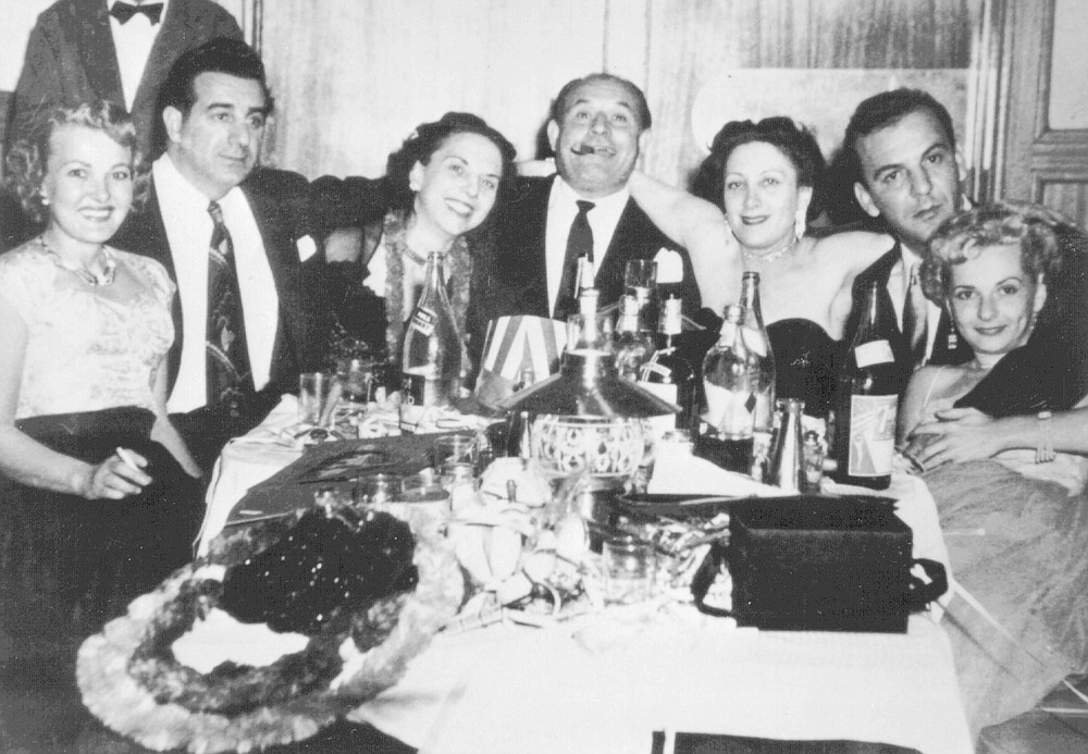 """From left: Jewel Fratianno, Jimmy the Weasel Fratianno, Bompensiero (center), Thelma; at Tops, early 1950s. """"There was music at Tops. People danced."""""""