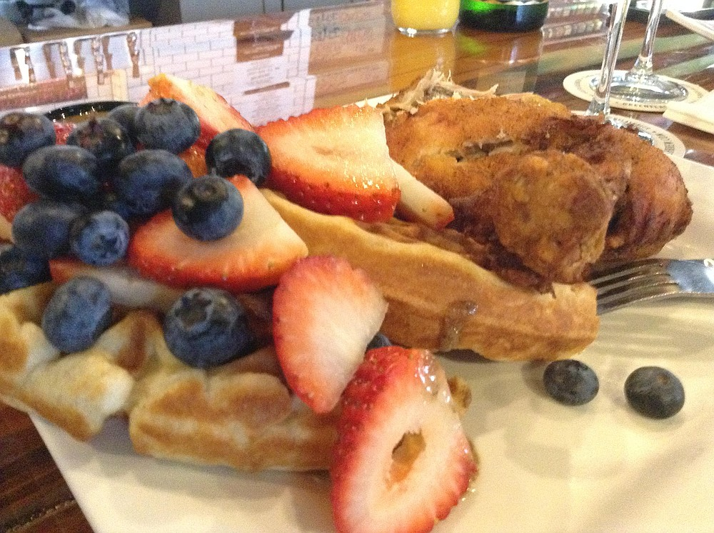 Kristine's chicken, waffle, and fruit dish